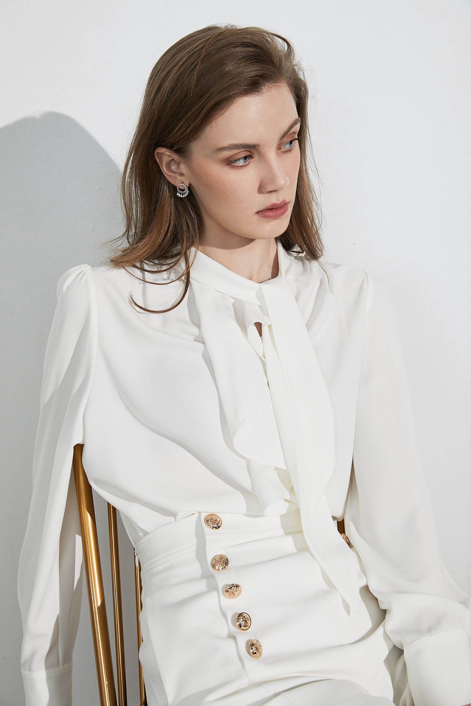 Business Essential White Bow-Tie Blouse