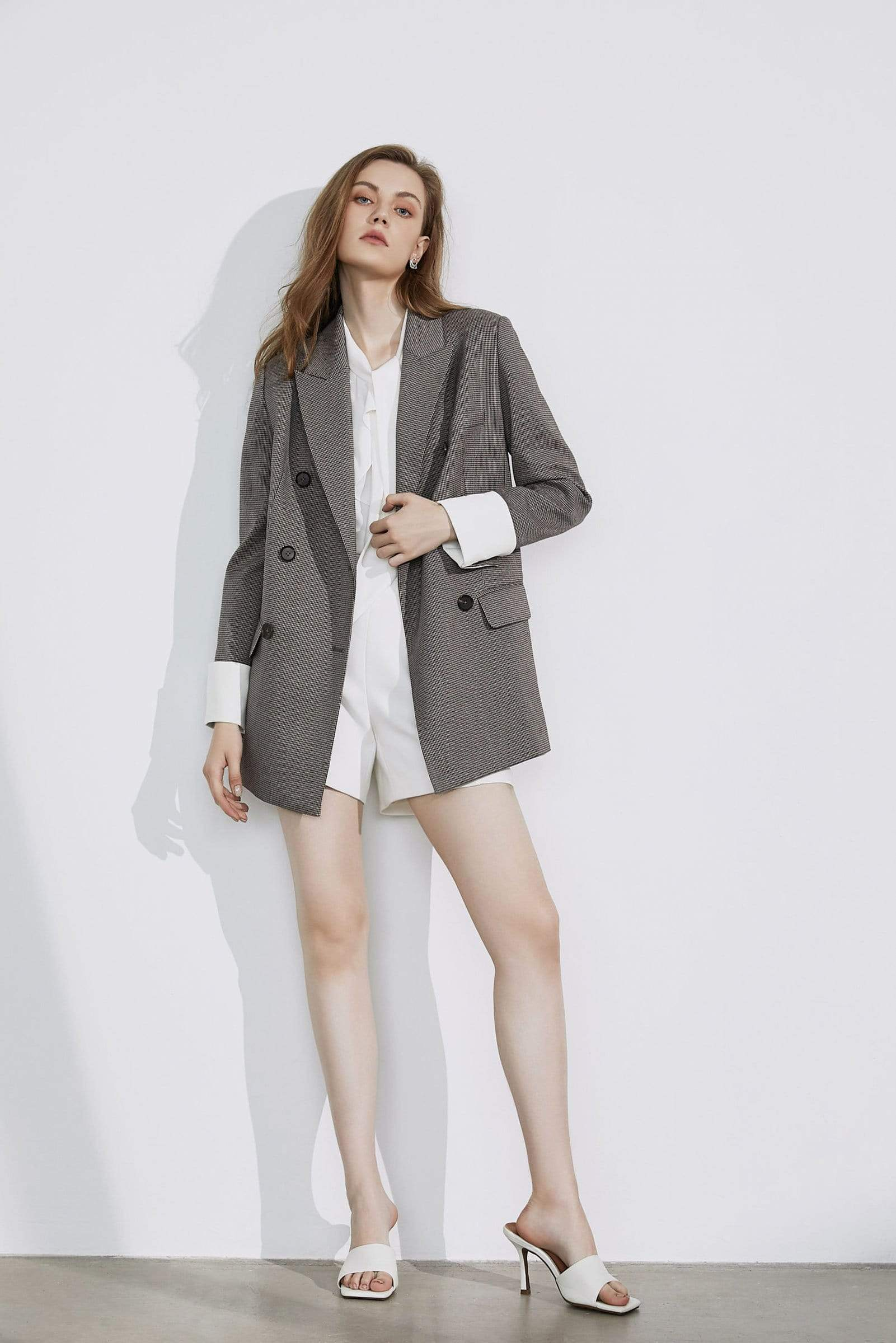 Herringbone Grey Oversized Blazer