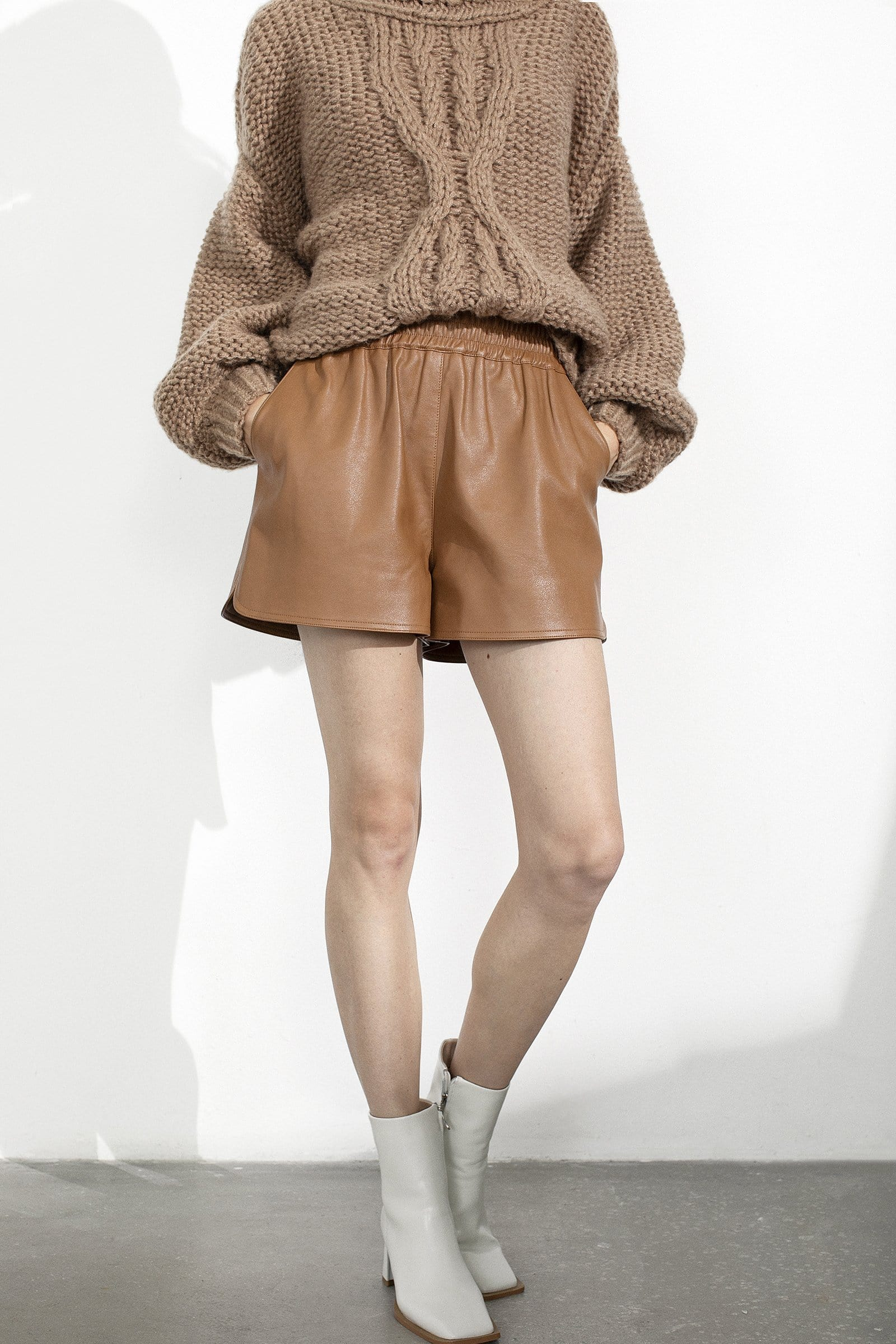 Camille Brown Leather Shorts