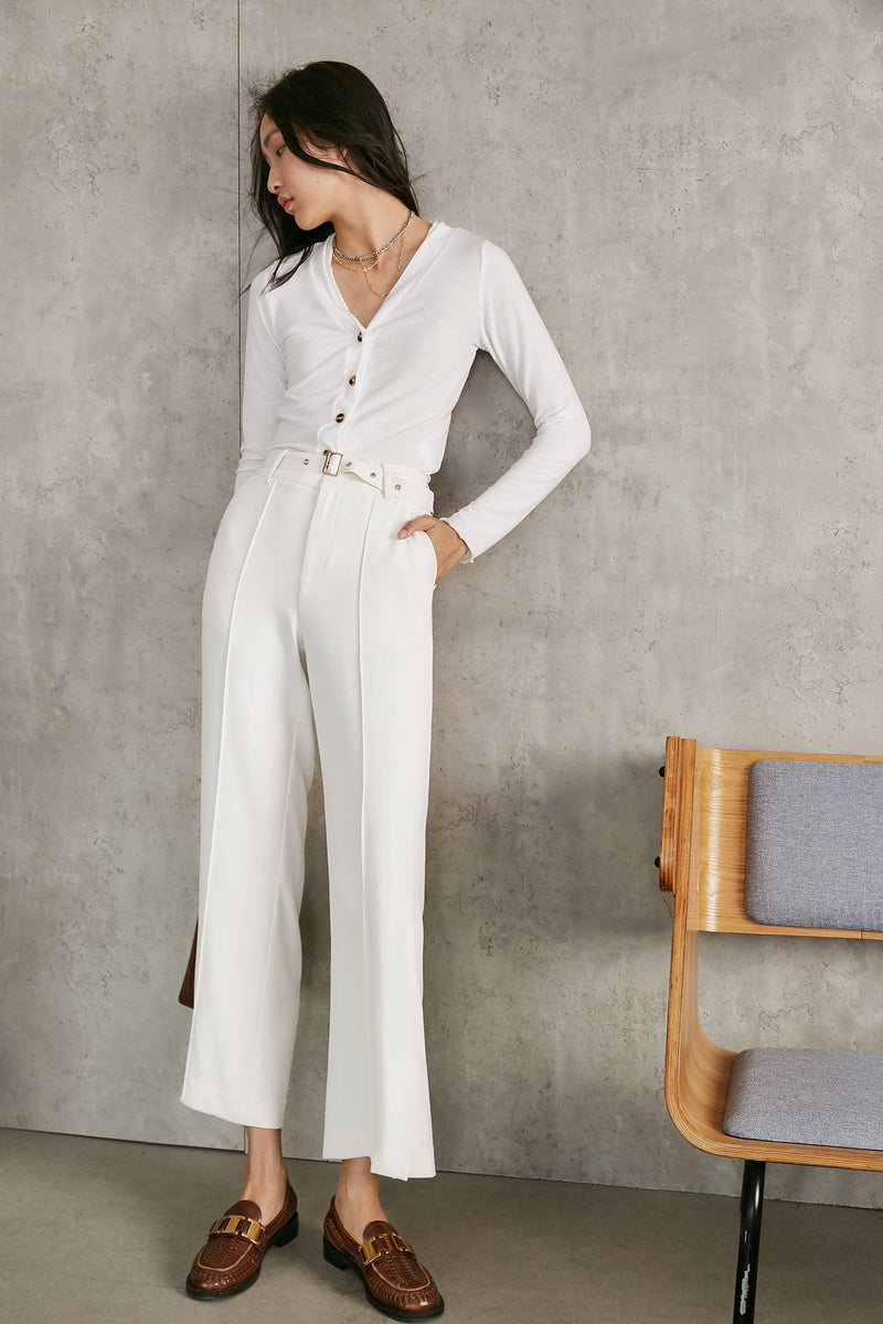 Belted Ivory Pants