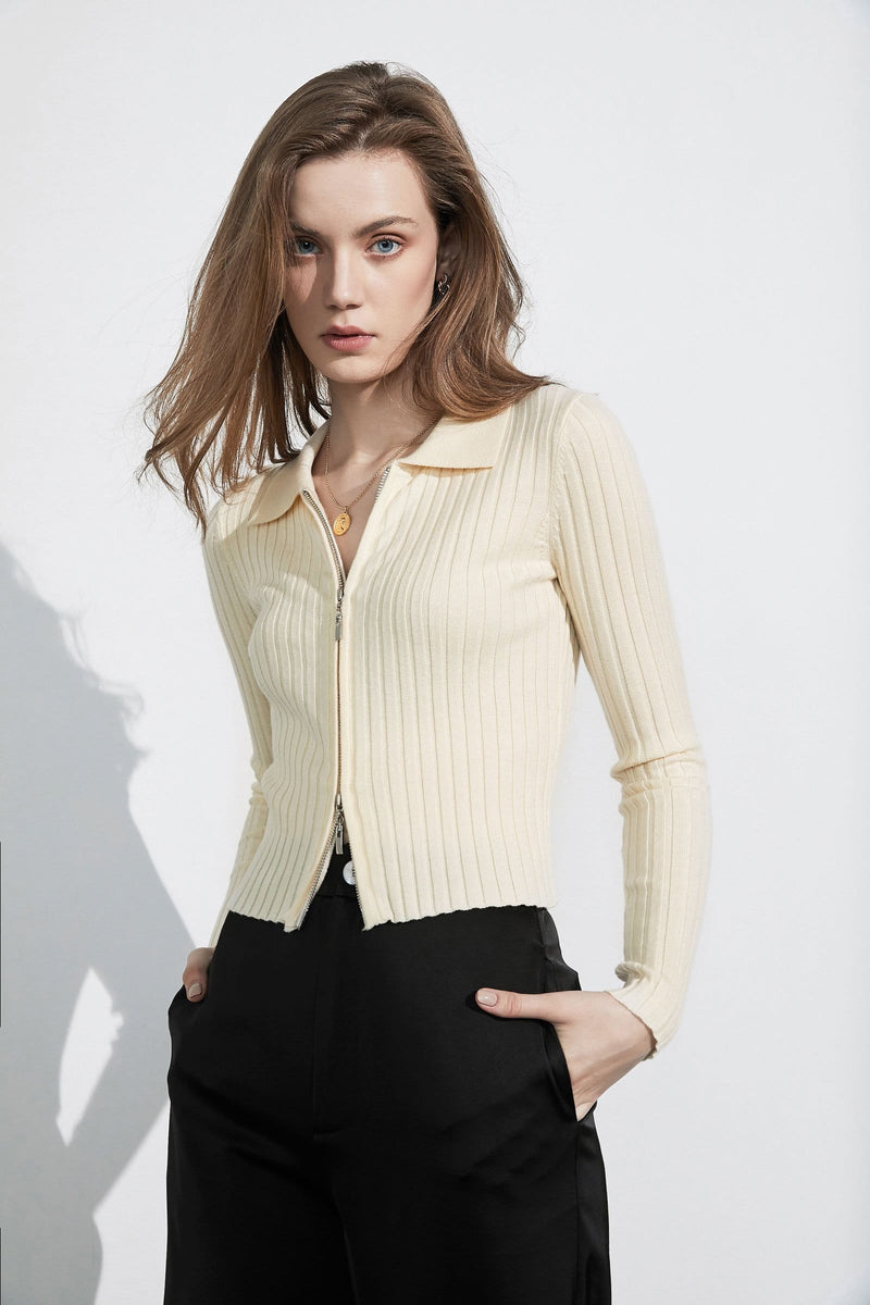 Hadley Ecru Double Zip Cardigan