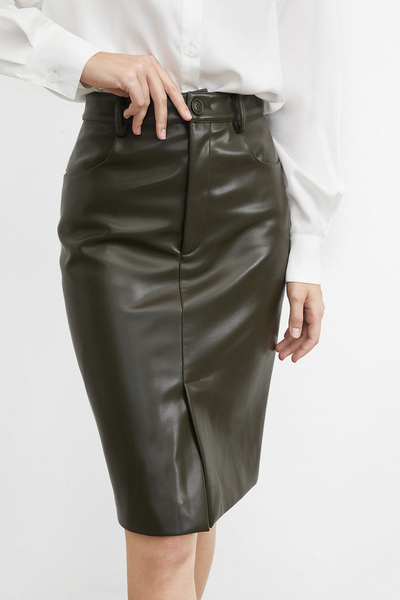 Sleek Olive Midi Skirt