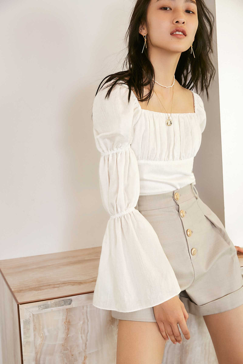Cathy White Wide Cropped Blouse