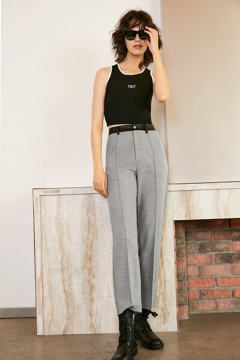 Blakely Light Grey Wide Leg Trousers