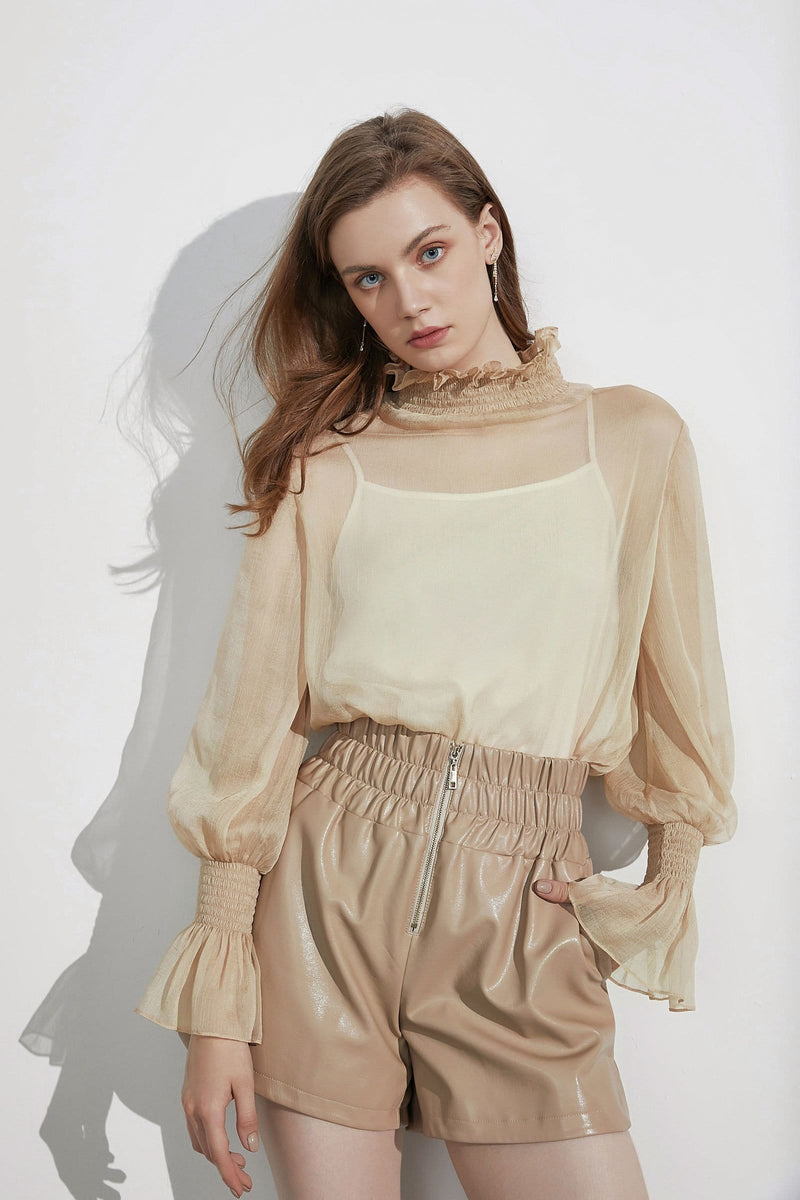 Cadence Wheat Sheer Blouse
