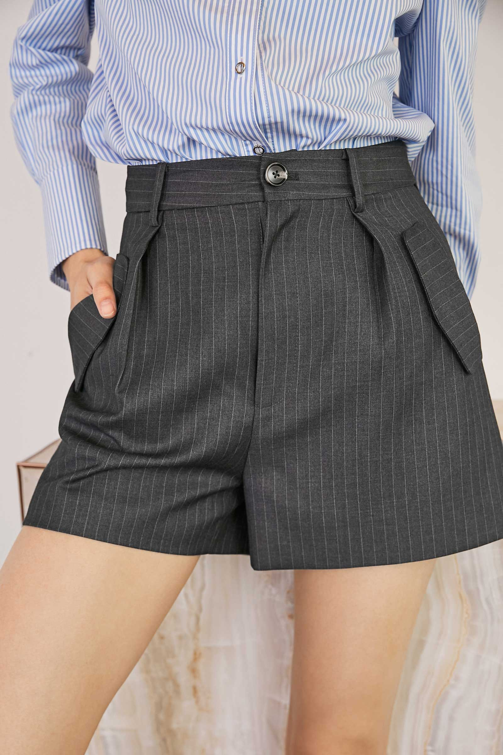 Charcoal High Waisted Shorts