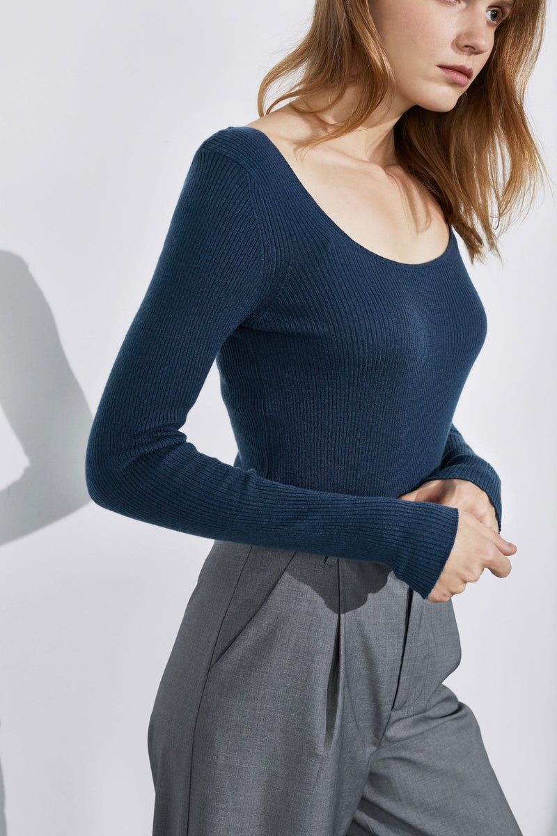 Essential Blue Round Neck Sweater