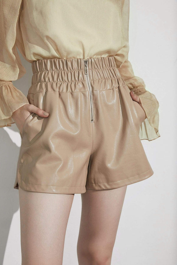 Glossy Fawn Leather Shorts