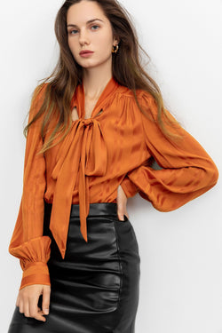 Florence Red Tie-Up Blouse