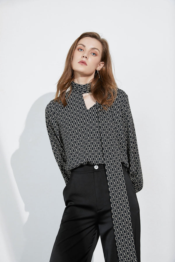 Monique Black Bow-Tie Blouse