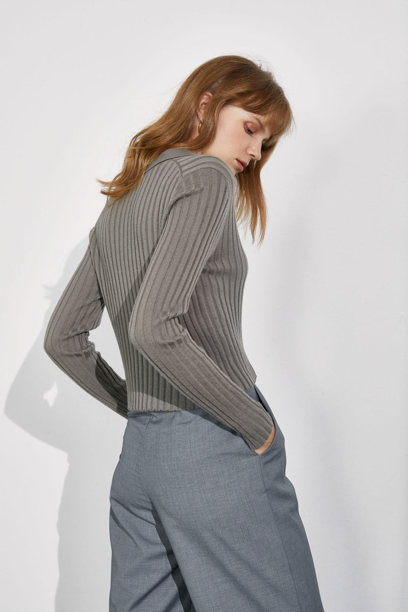 Coco Khaki Ribbed Sweater