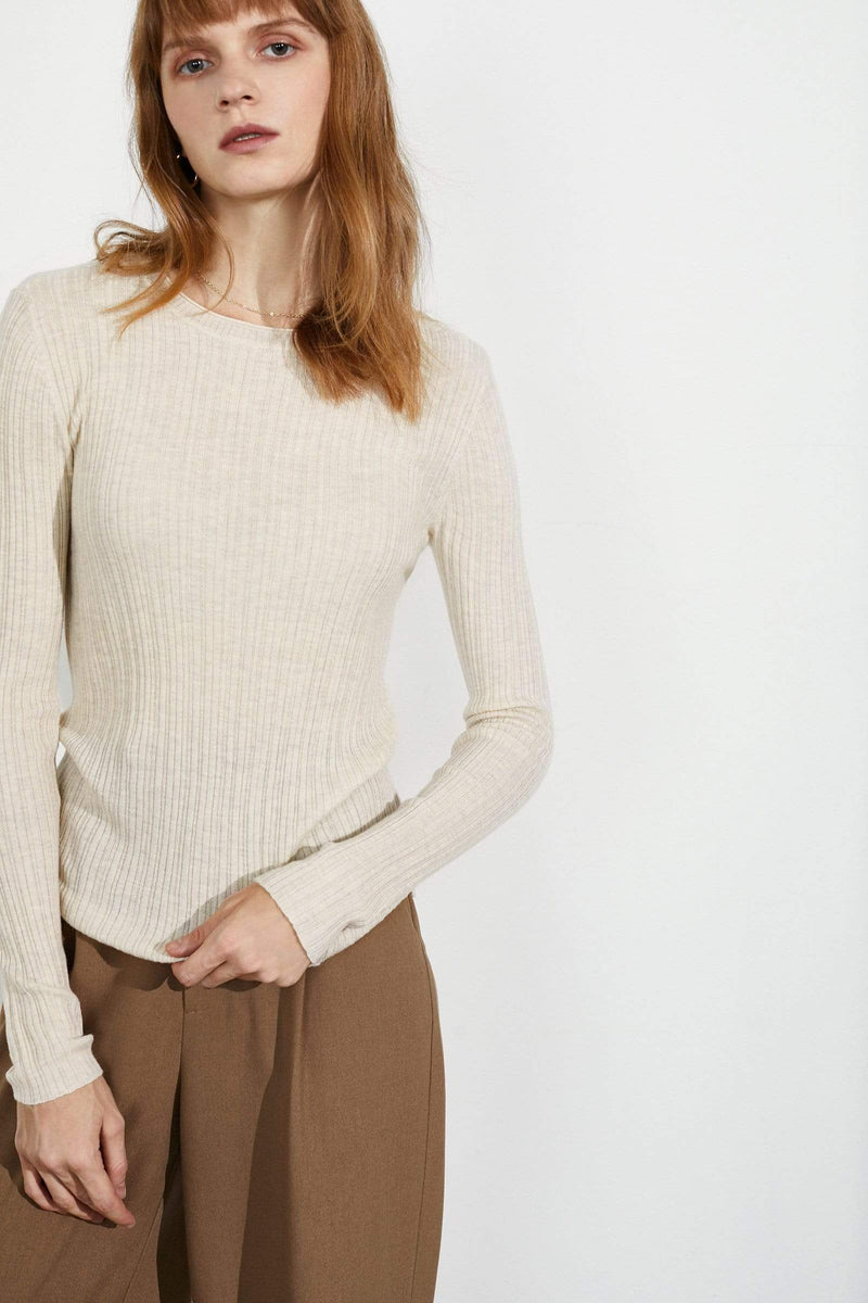 Cozy Ivory Ribbed Sweater