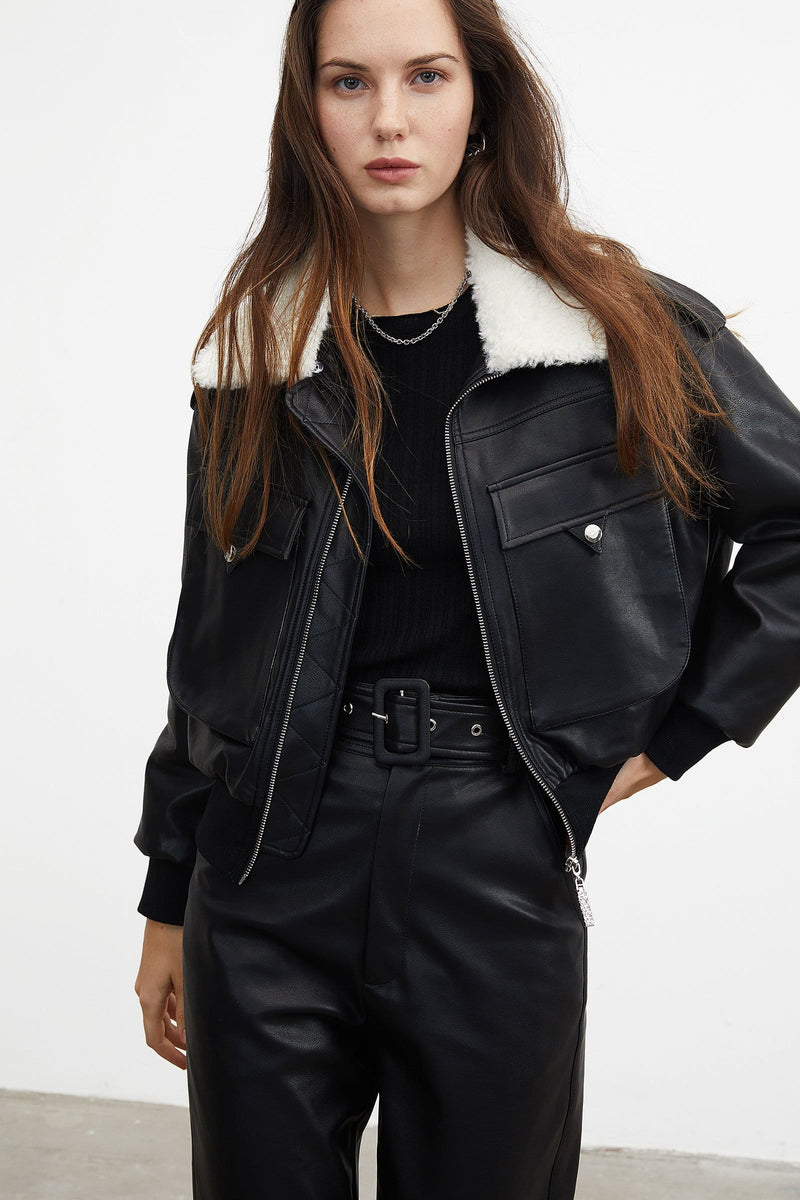 Cheryl Leather Bomber Jacket