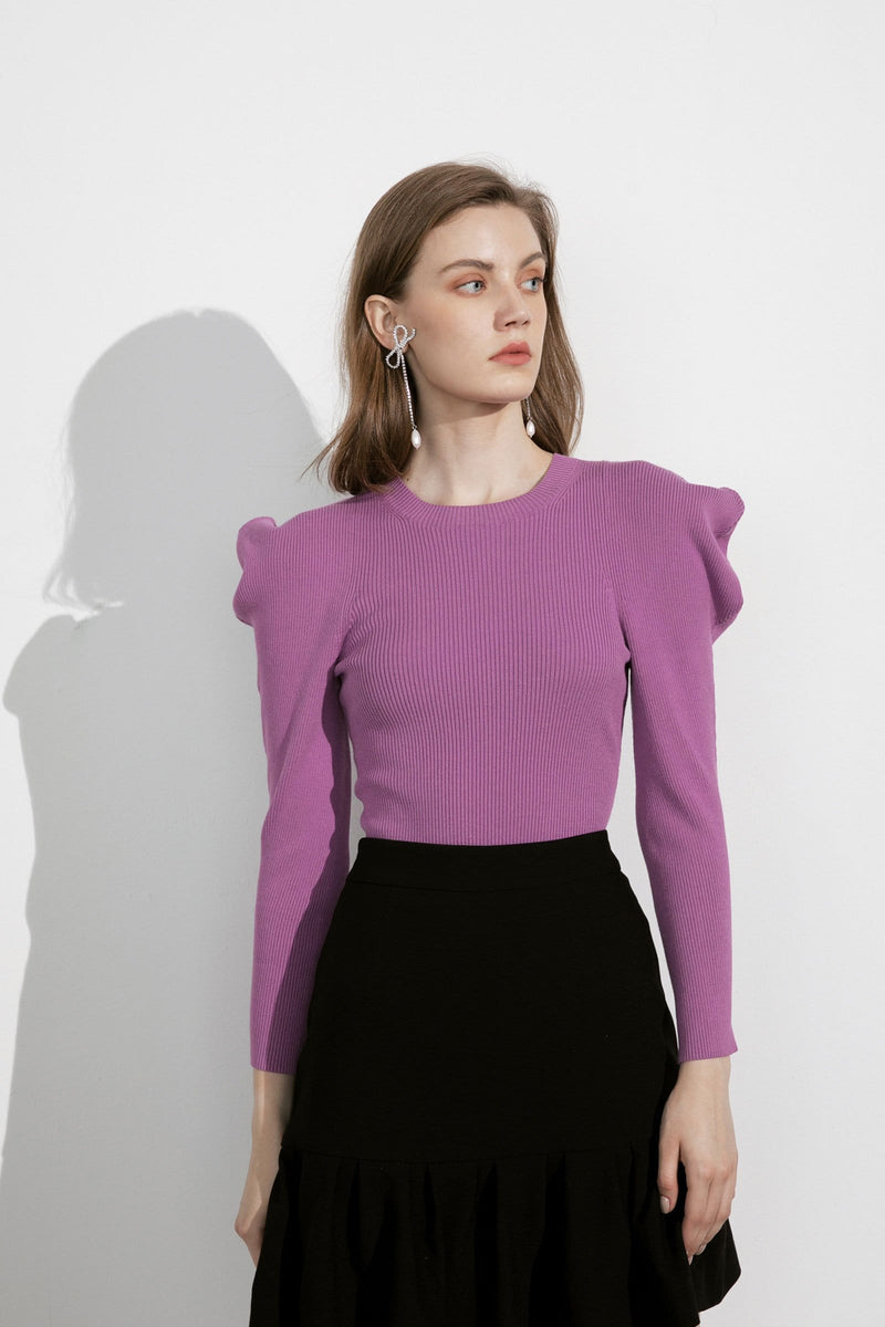 Priscilla Orchid Puff Sleeve Sweater