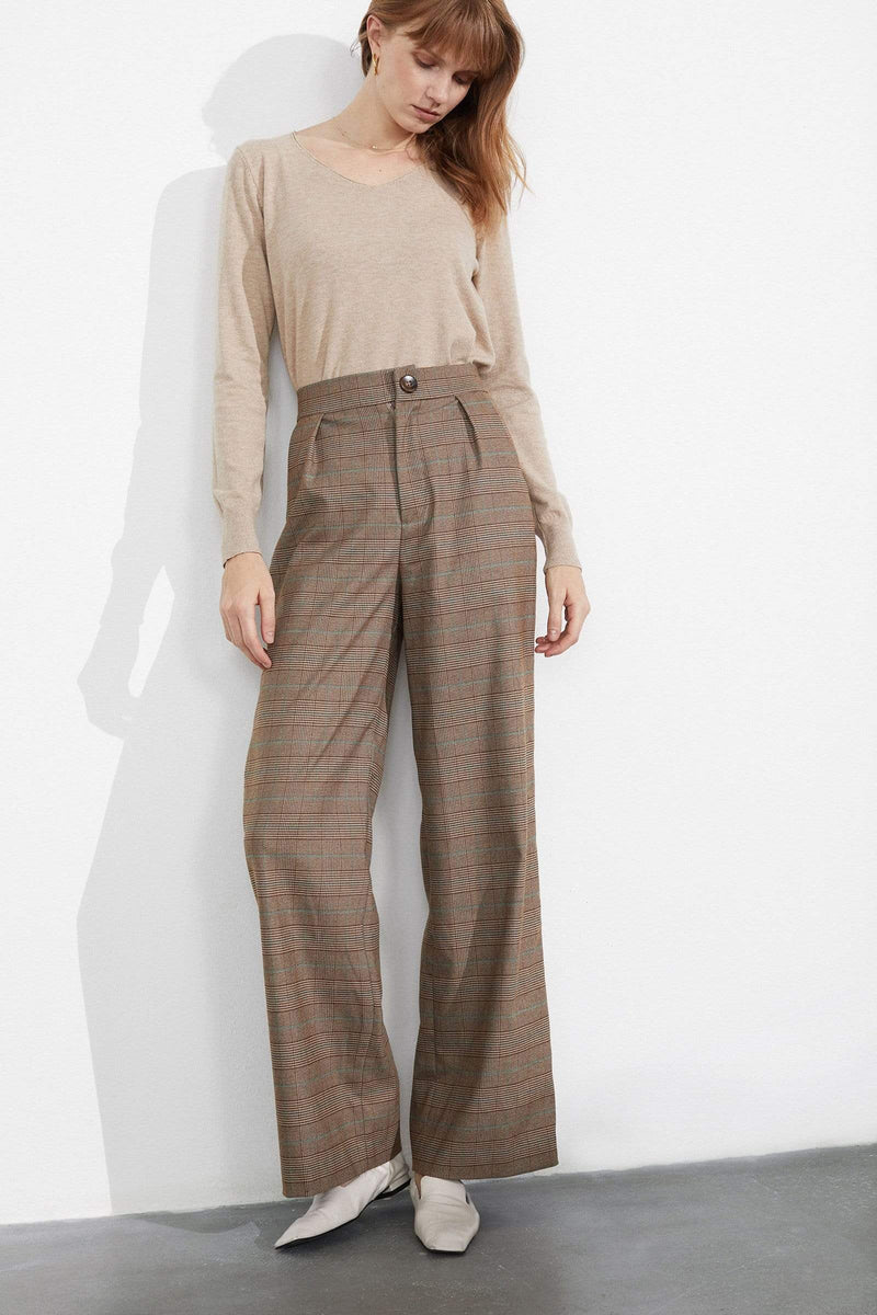 Wendy Tartan Tan Trousers