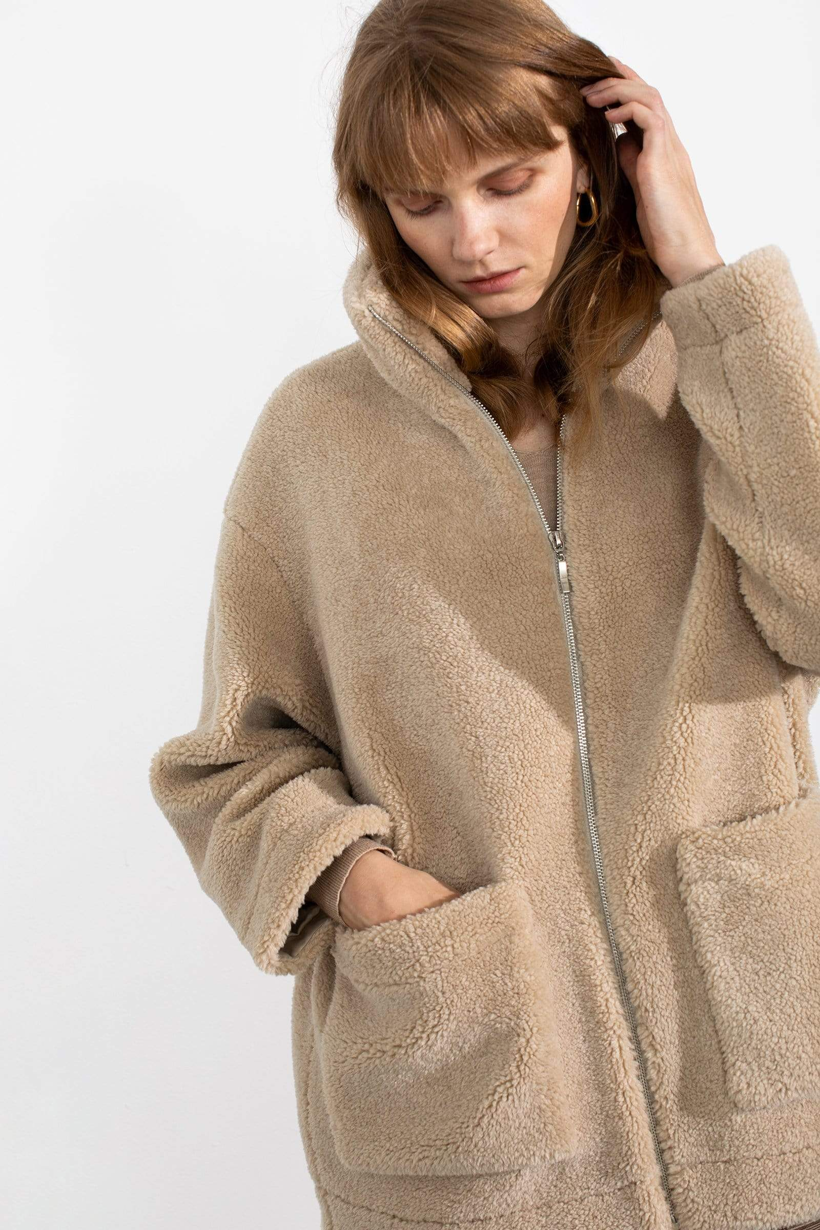 Plush Beige Teddy Coat