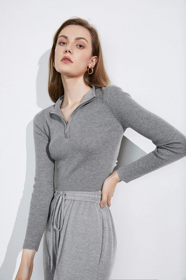 Basic Grey Zip-Up Sweater