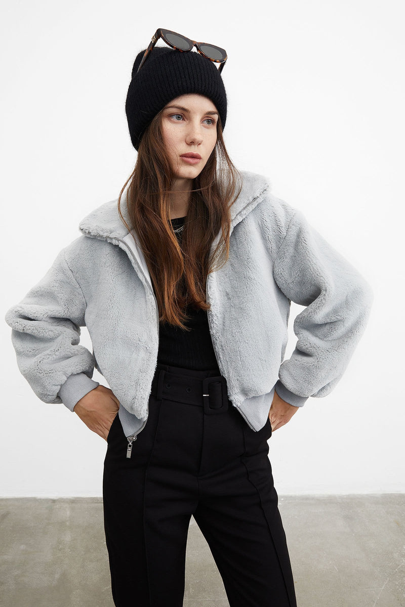 Cozy Grey Bomber Jacket