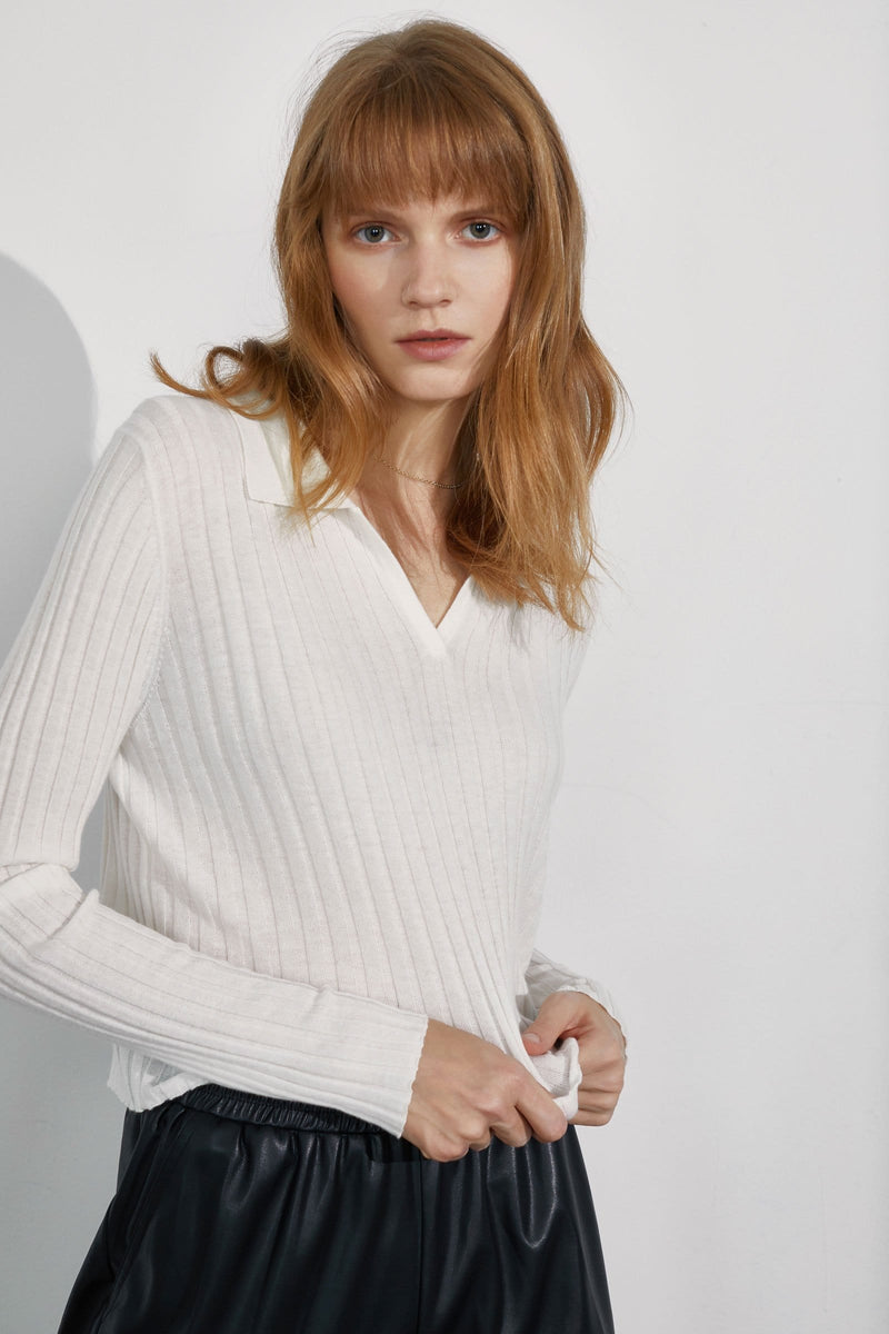 Coco White Ribbed Sweater