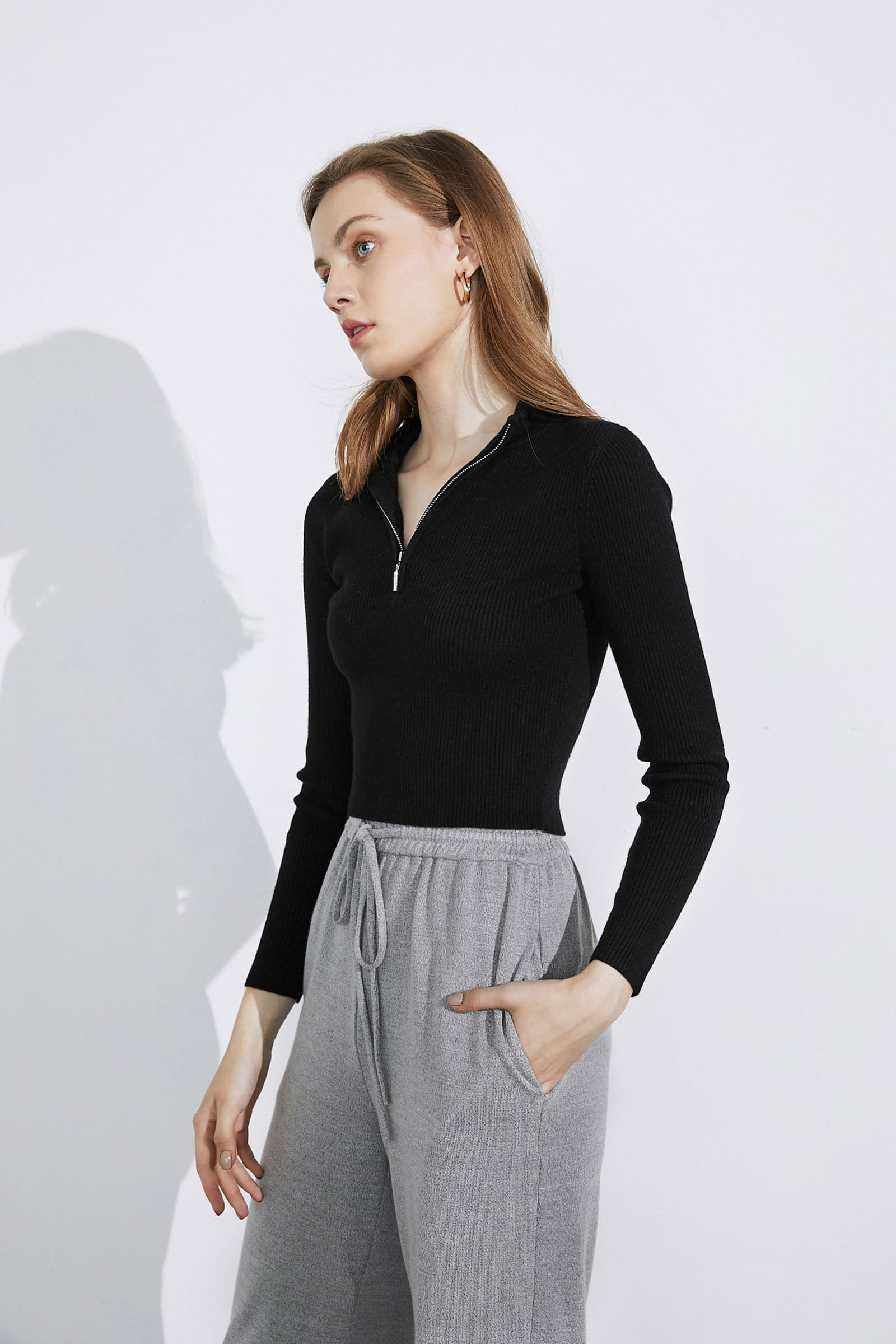 Basic Black Zip-Up Sweater