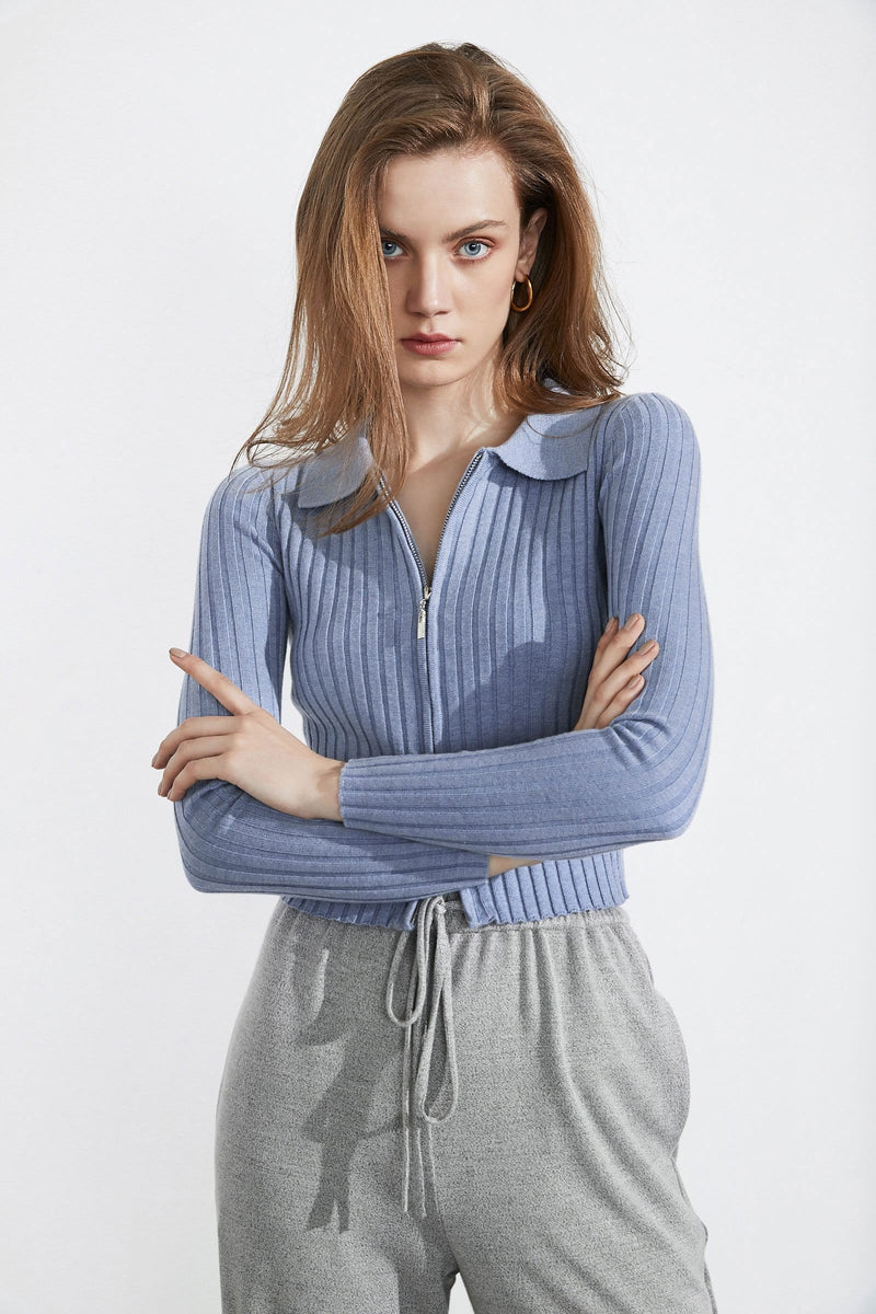 Hadley Blue Double Zip Cardigan