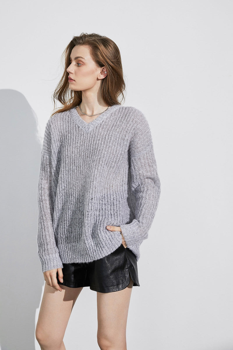 Chenelle Grey V-Neck Sweater