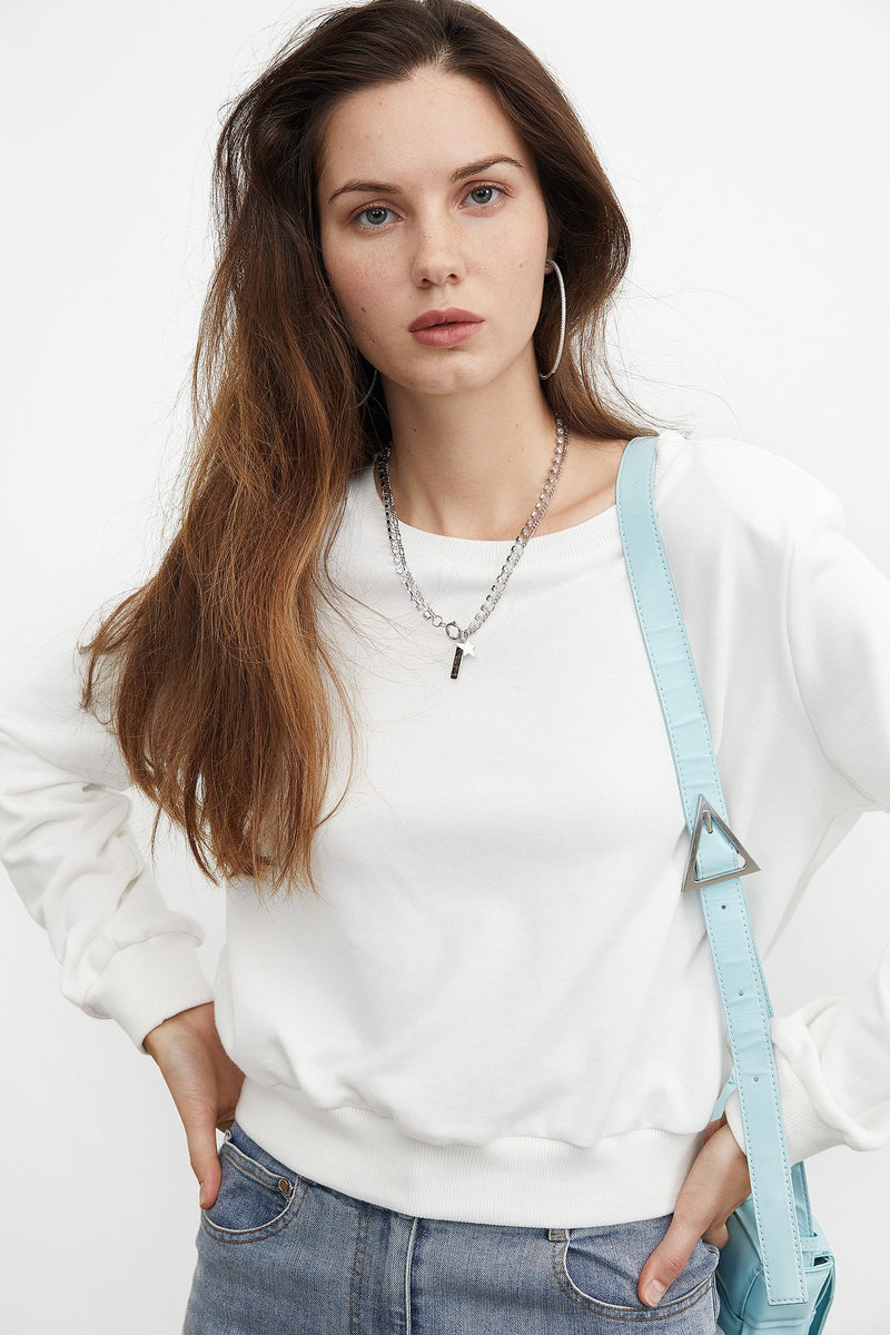 Essential White Cropped Sweatshirt