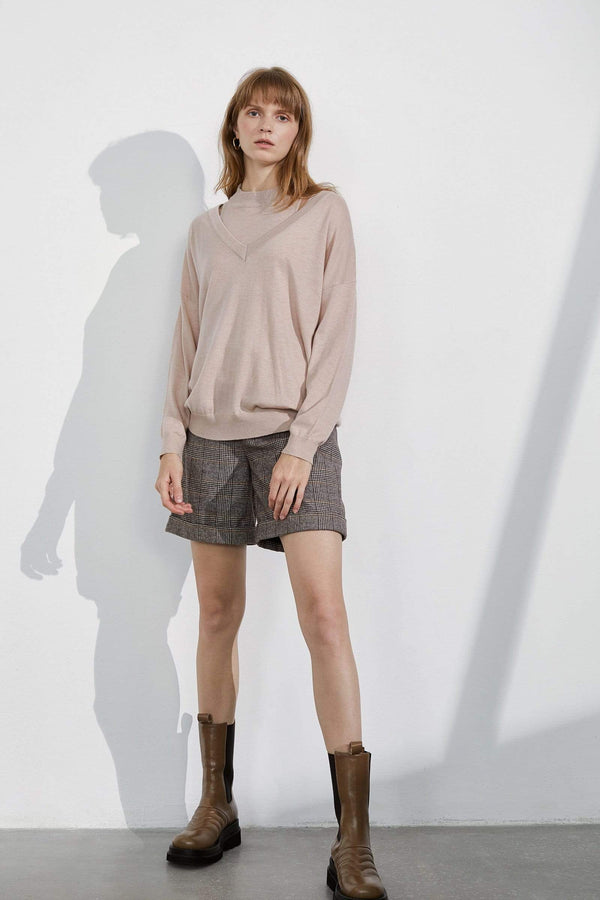 Niva Blush Cutout Shoulder Sweater