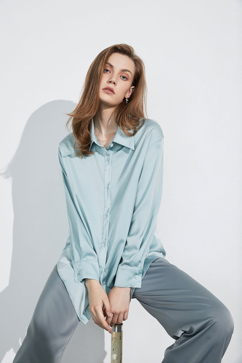 Business Essential Aqua Silky Blouse