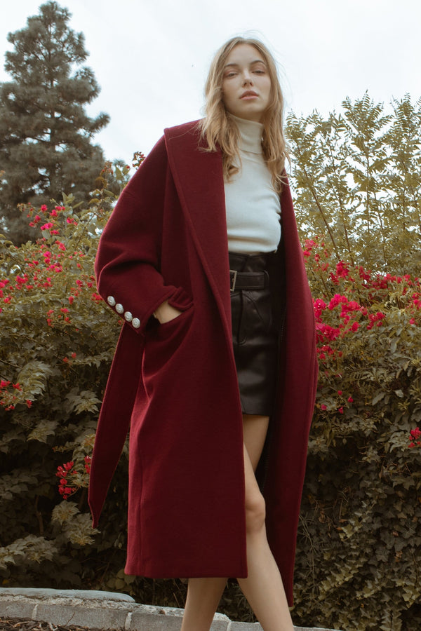 Baroque Burgundy Wrap Coat