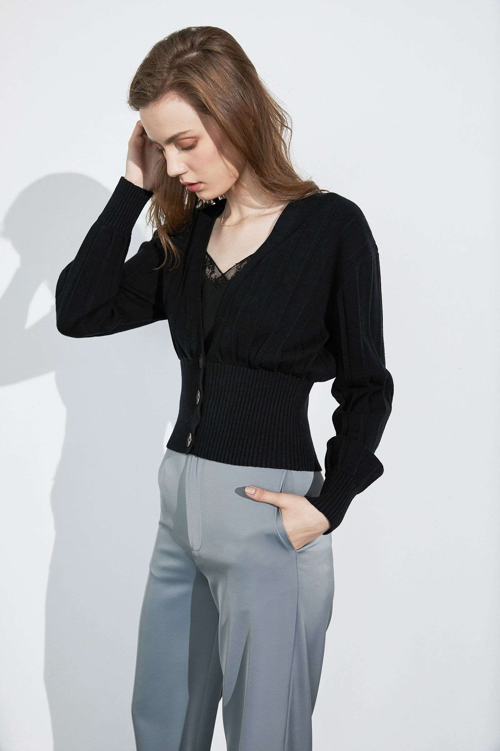 Eloise Black Cropped Cardigan