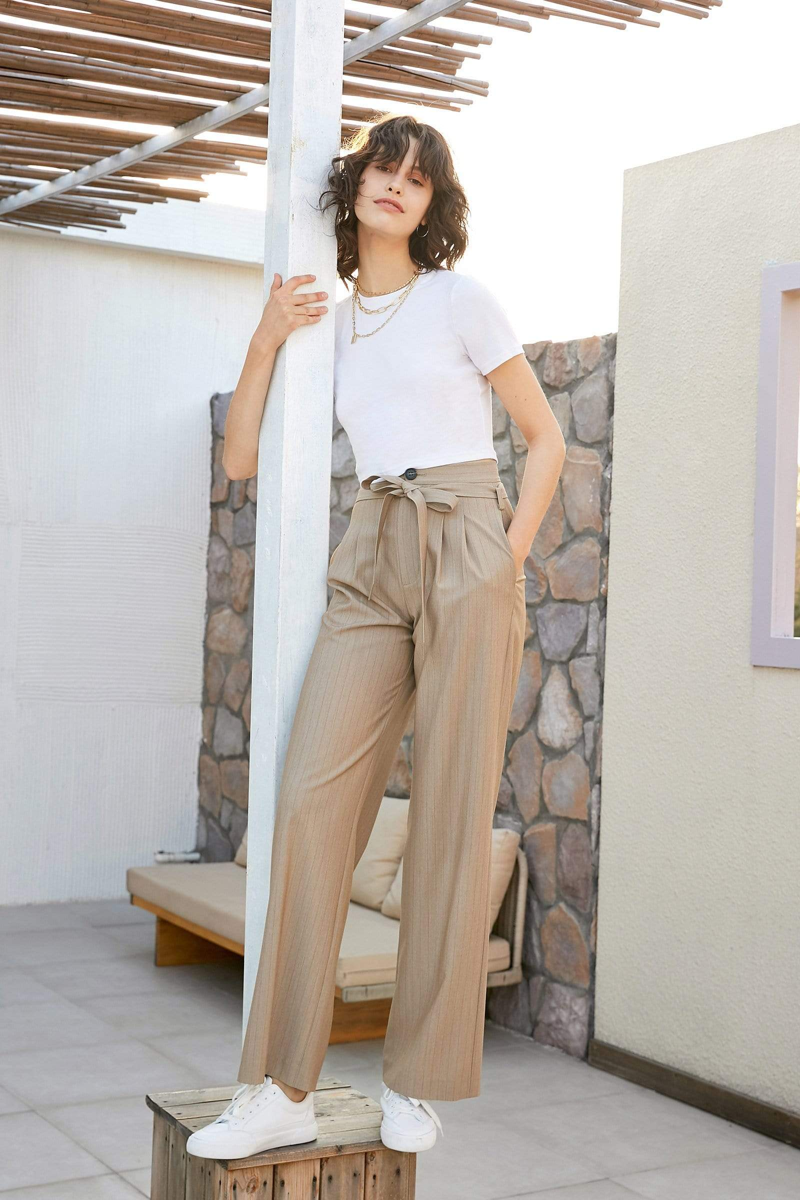 Eliana Tan Wide Leg Tie Pants