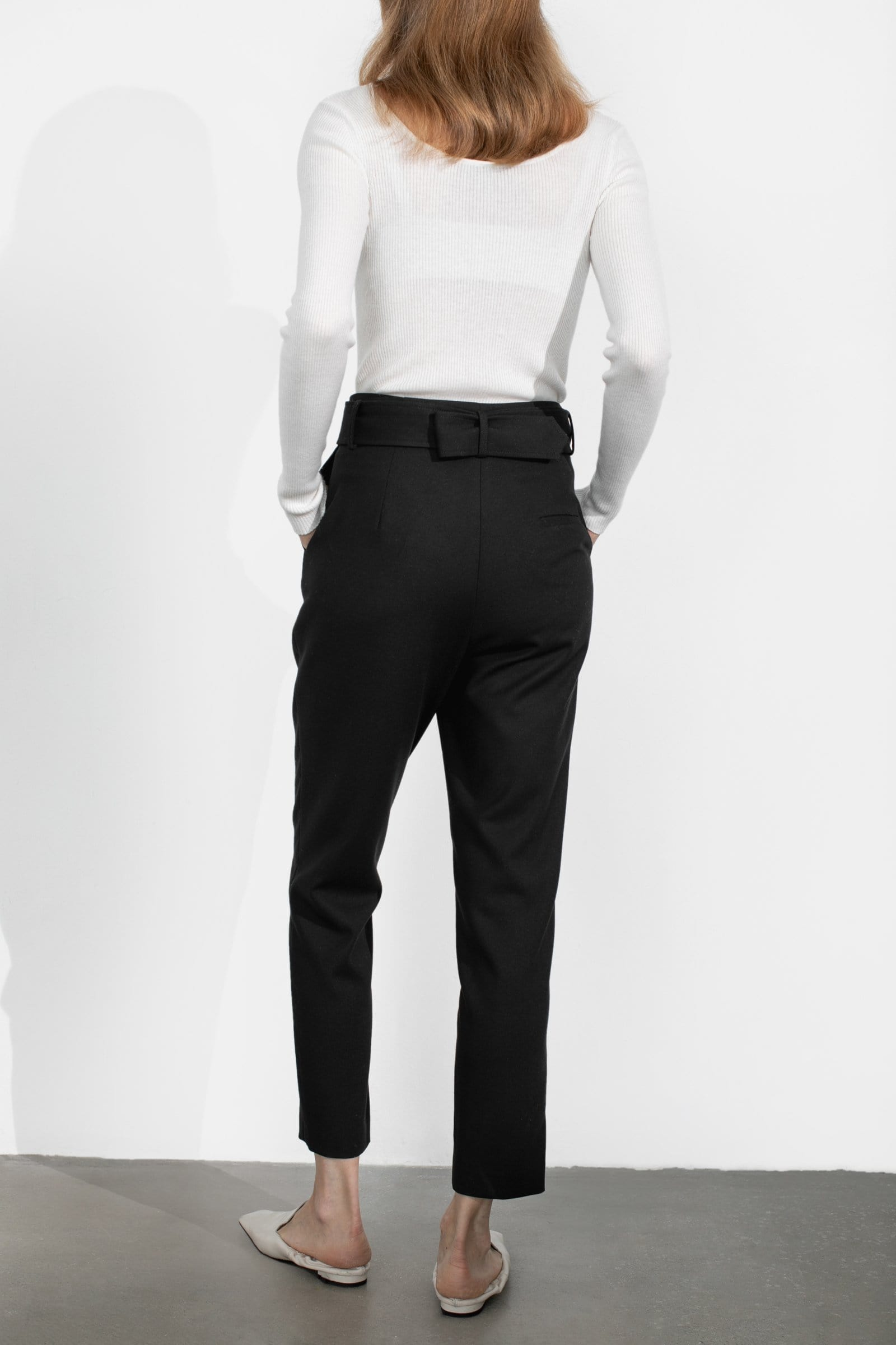 Business Black Belted Trousers