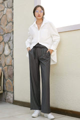 Eliana Gray Wide Leg Pinstripe Pants