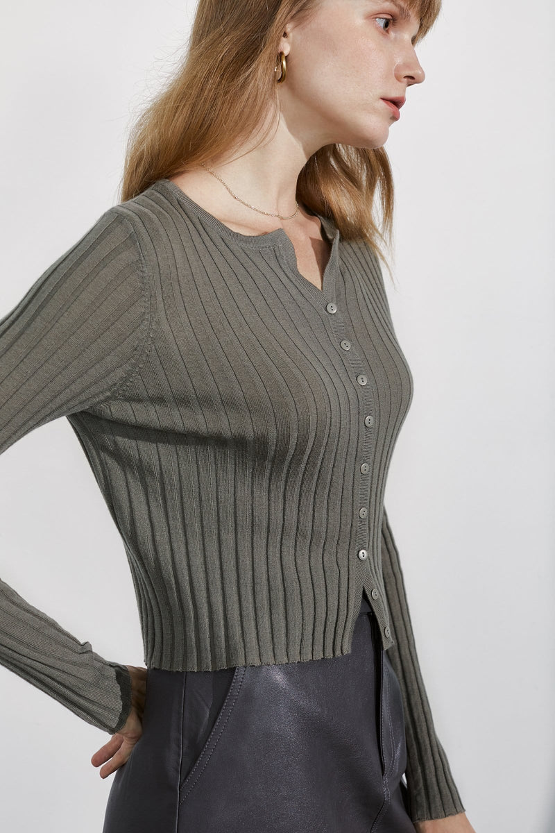 Cozy Olive Green Ribbed Cardigan