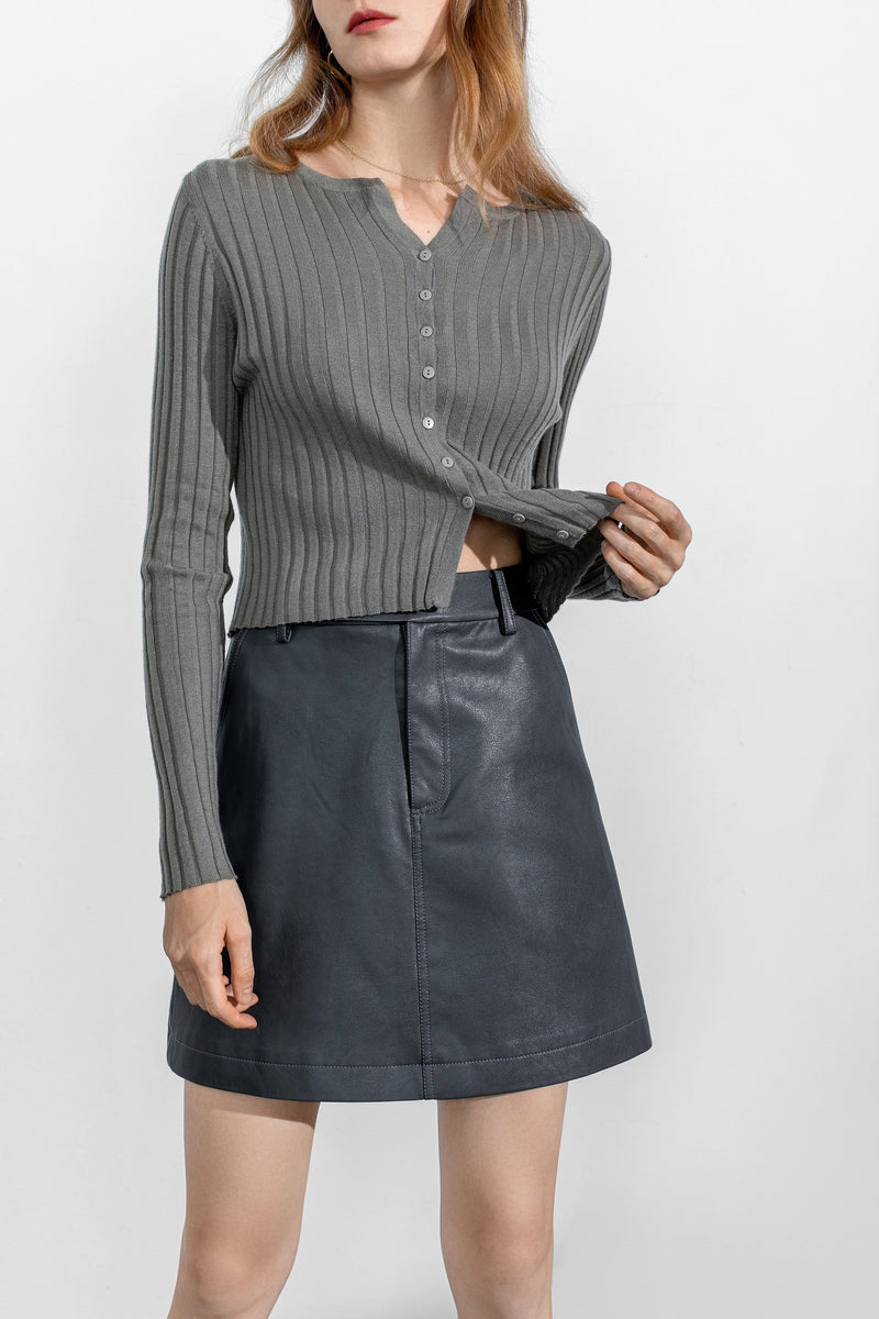 Tilda Grey Leather Skirt