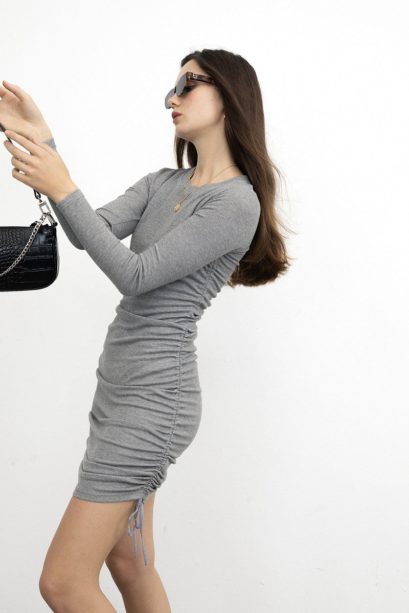 Ruched Grey Long Sleeve Dress