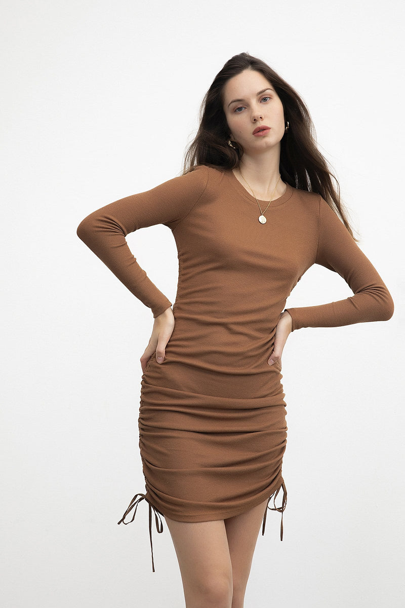 Ruched Tan Long Sleeve Dress