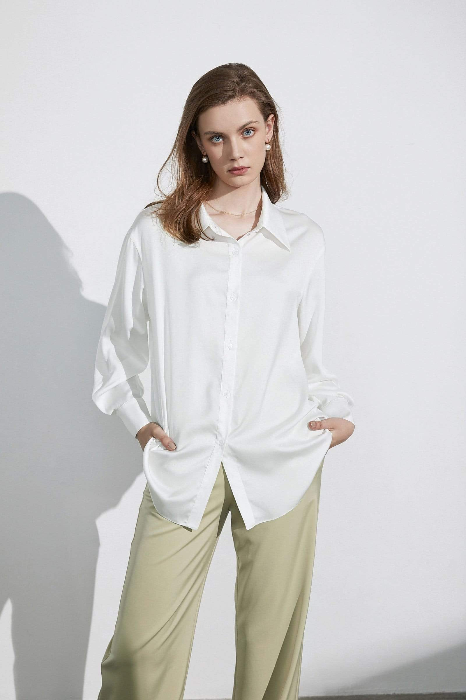Business Essential Ivory Silky Blouse