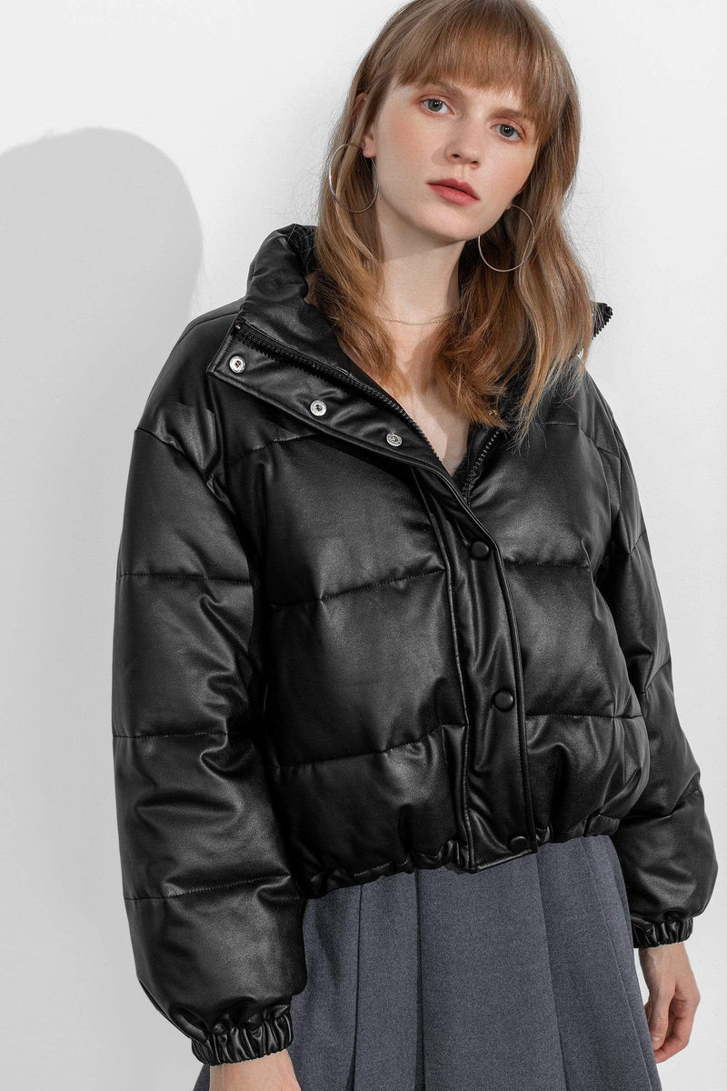 Shiny Black Puffer Jacket