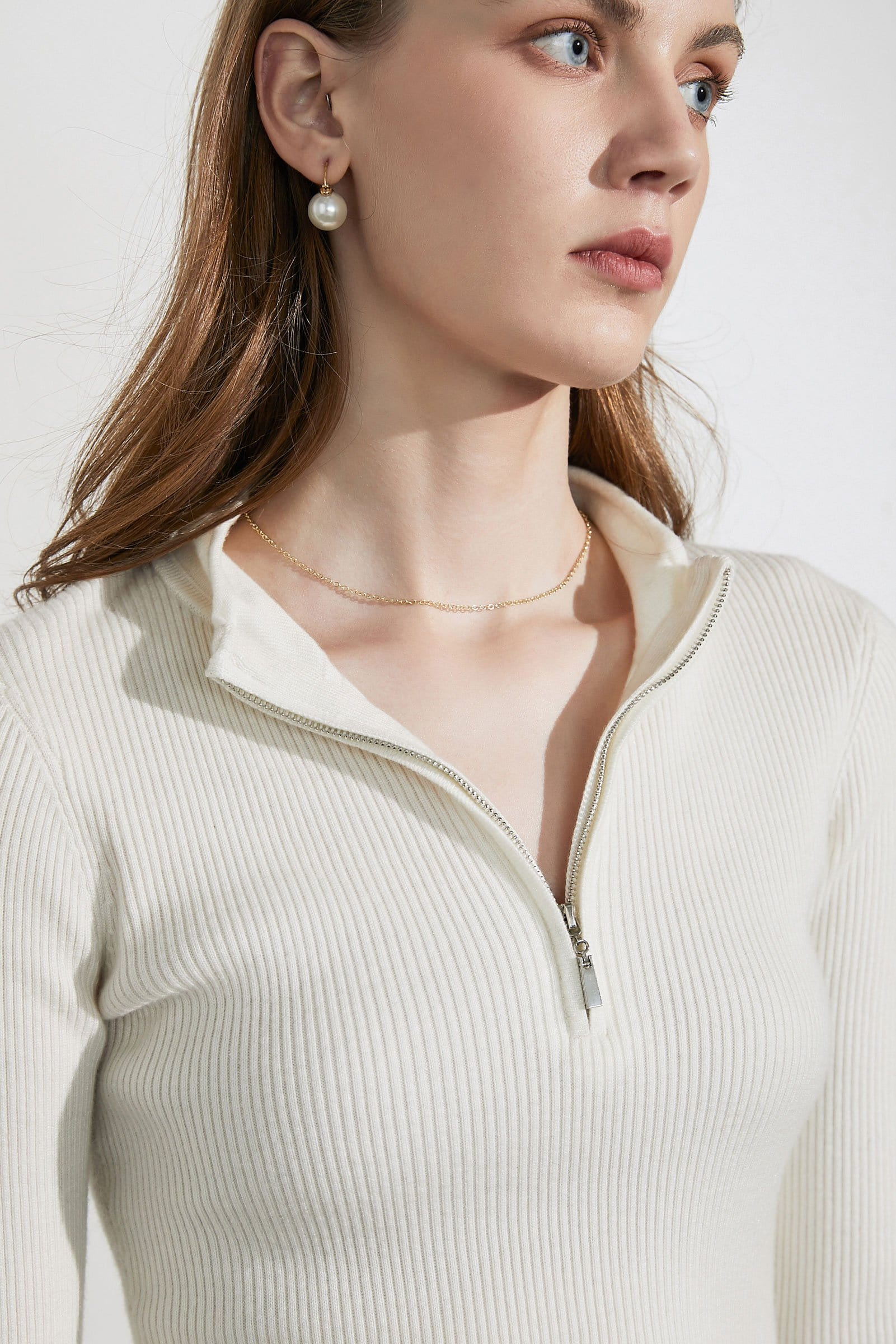 Basic Ivory Zip-Up Sweater