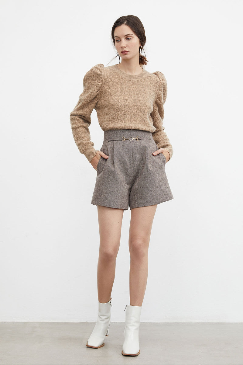 Elyse Tan Belted Shorts