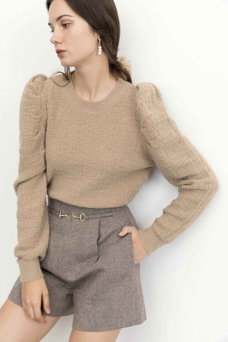 Maureen Brown Puff Sleeve Sweater