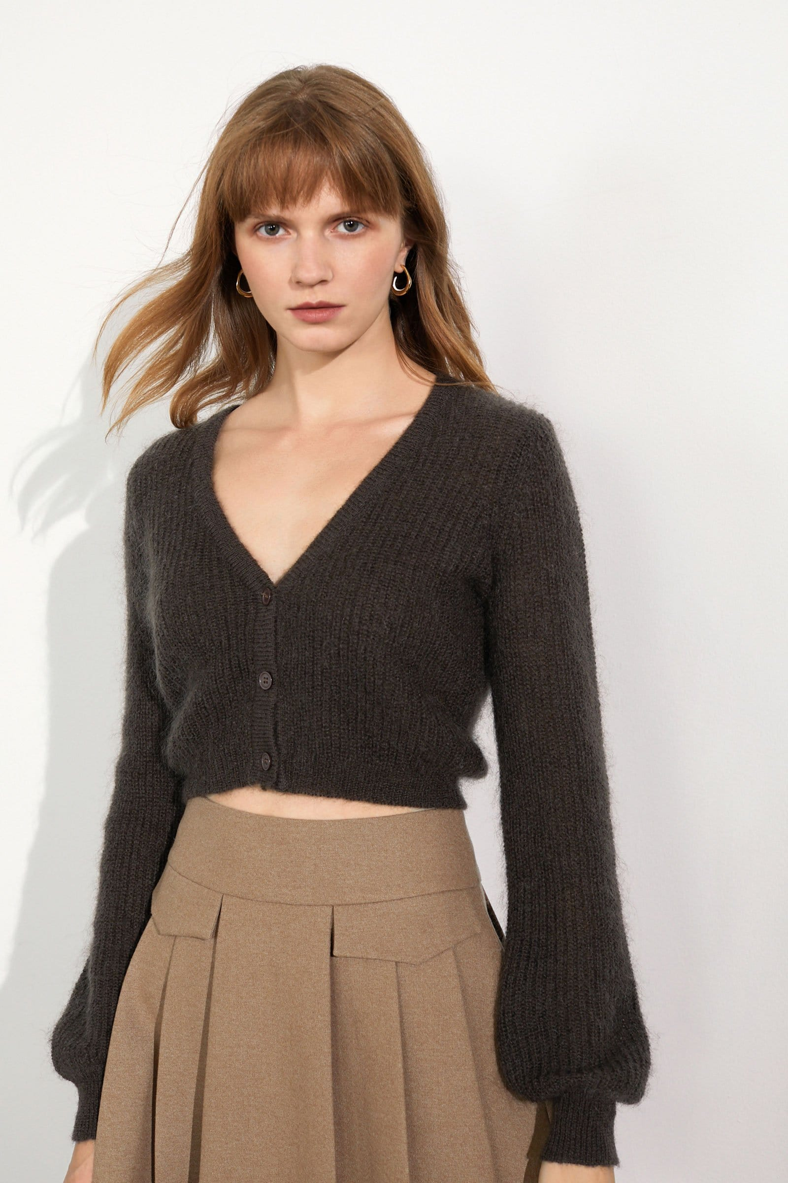 Mina Chocolate Puff Sleeve Cardigan