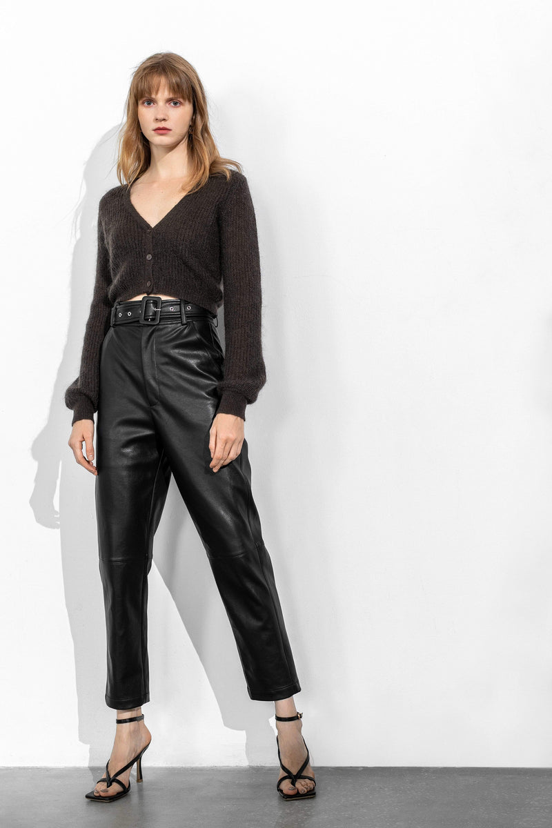 Slick Black Belted Trousers