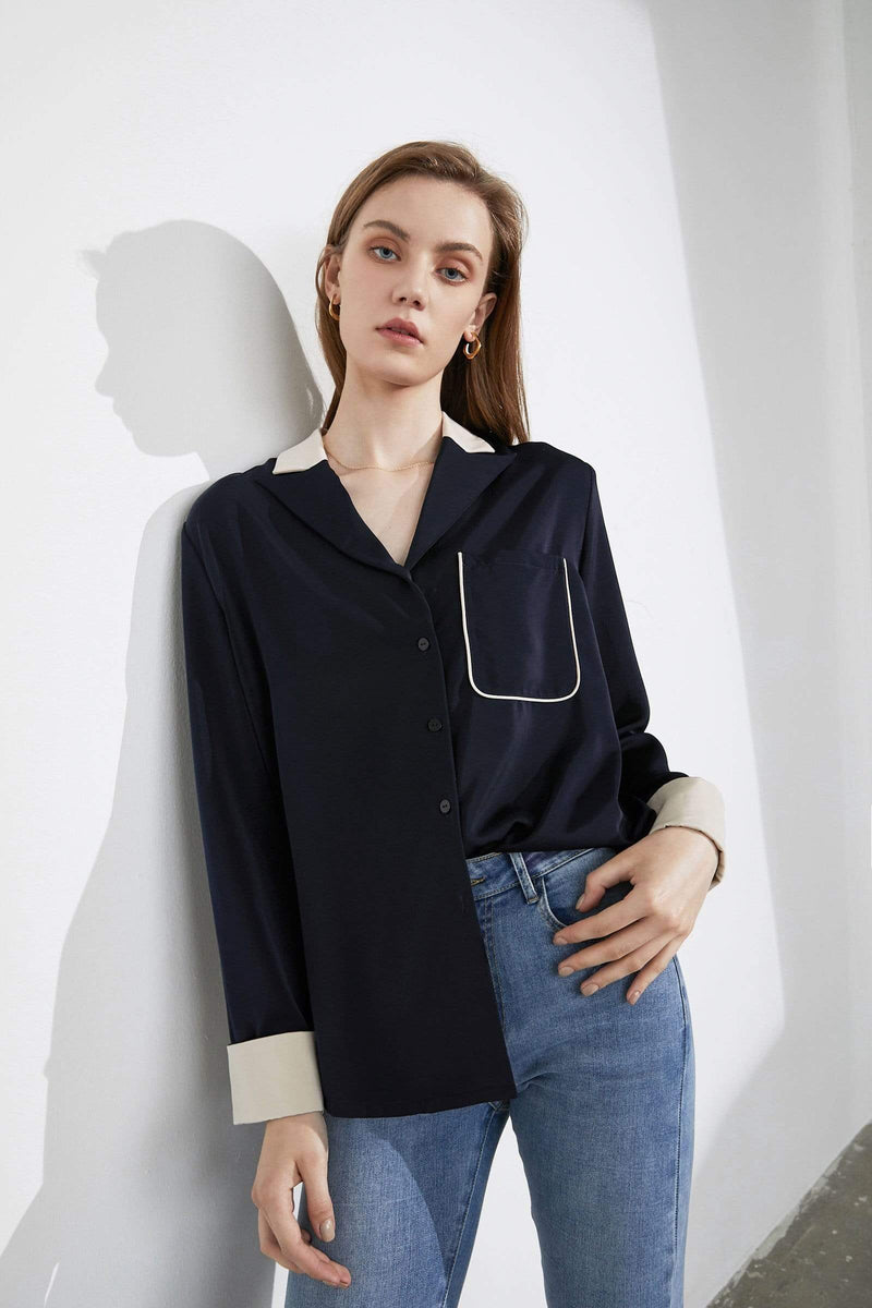 Maudie Navy Silky Blouse