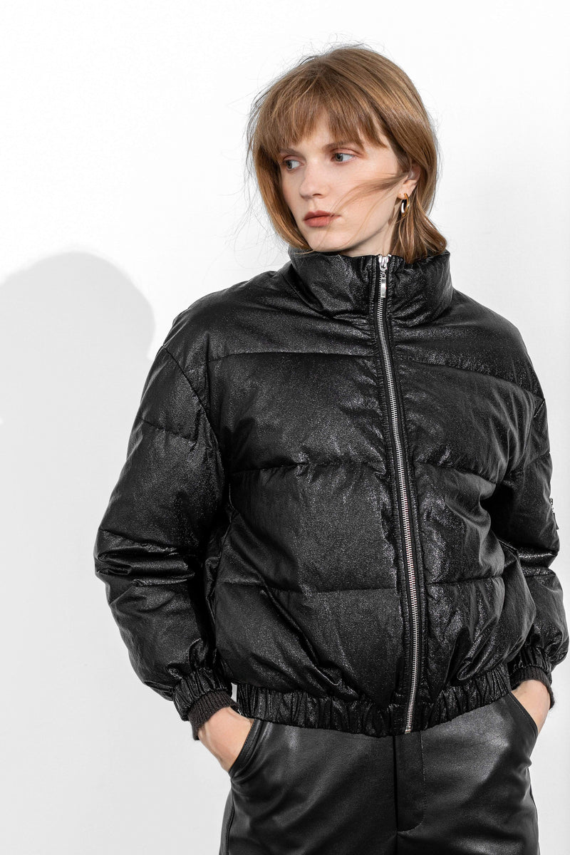 Slick Black Puffer Jacket