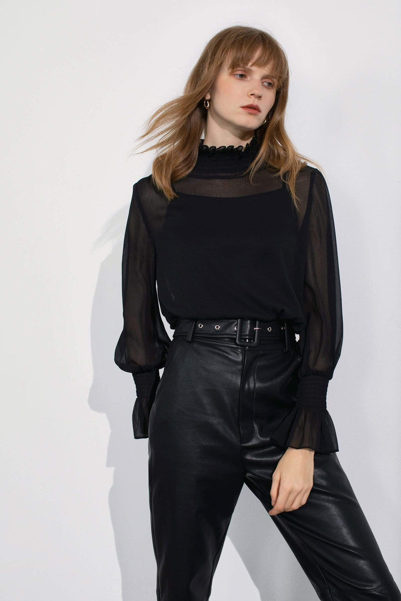 Cadence Black Sheer Blouse