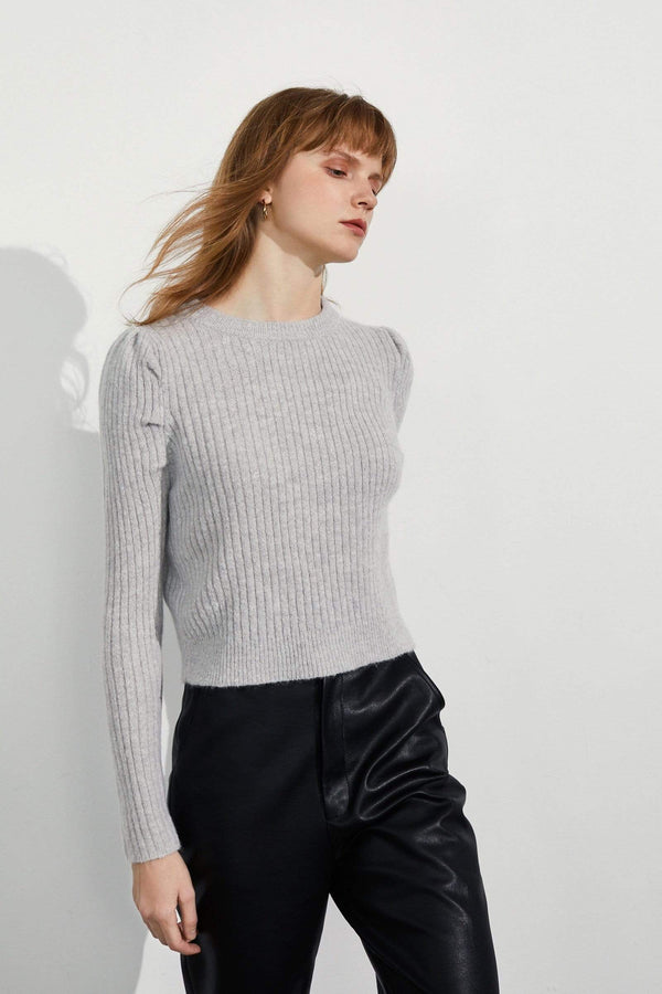 Gracie Grey Round Neck Sweater