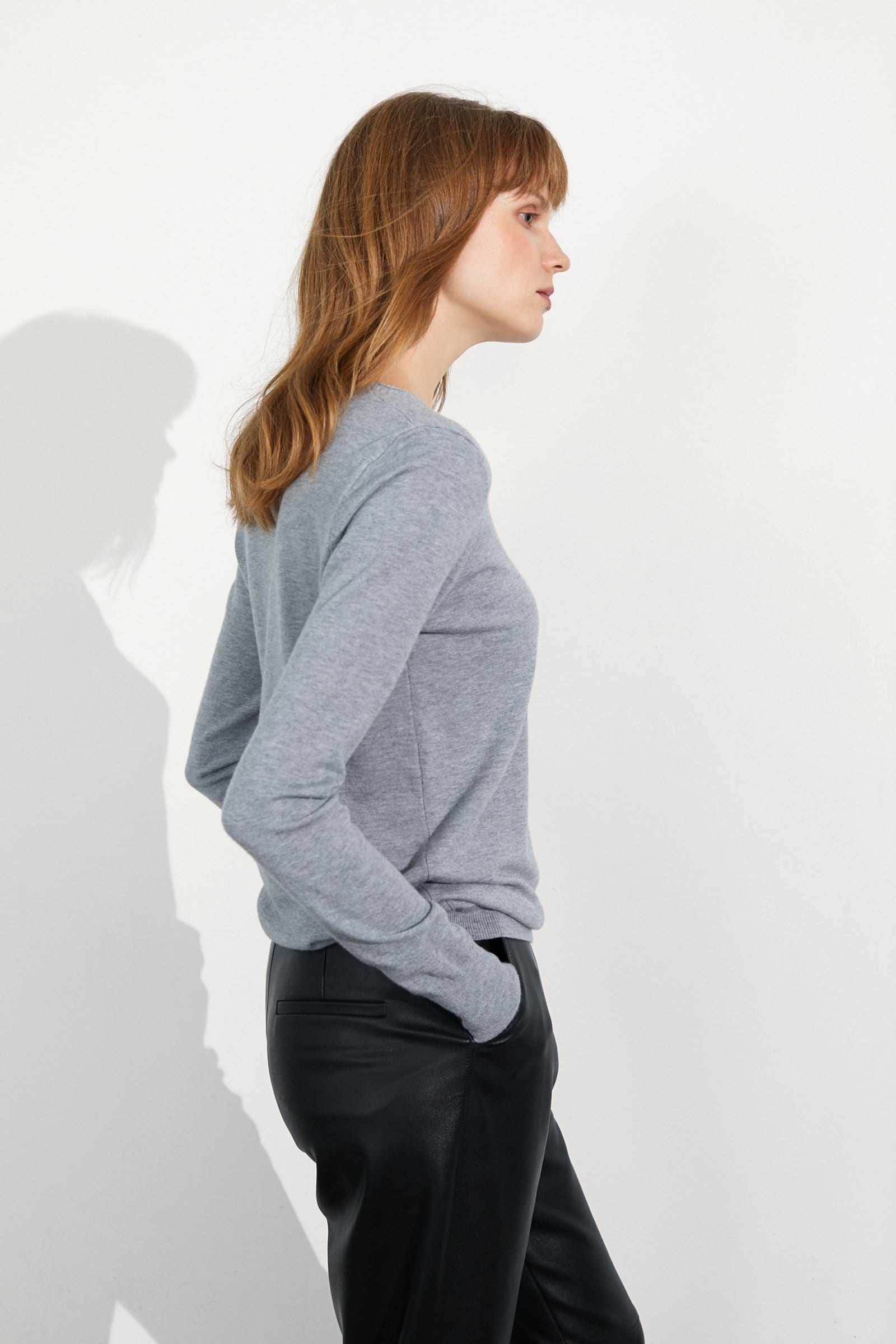 Cozy Grey V-Neck Sweater